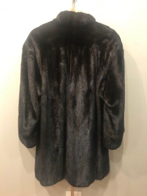 Black Mink Fur Coat Back